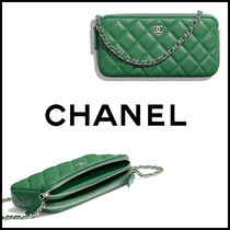 CHANEL MATELASSE Lambskin Chain Plain Logo Clutches