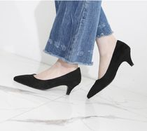 Casual Style Suede Plain Block Heels Office Style