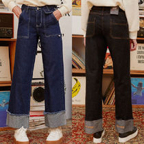 rolarola Denim Street Style Plain Cotton Long Logo Jeans