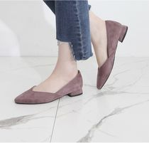 Square Toe Casual Style Suede Plain Office Style