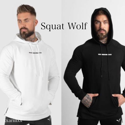 Logo Workout Pullovers Long Sleeves Plain Street Style