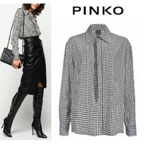 PINKO Gingham Casual Style Long Sleeves Medium Office Style