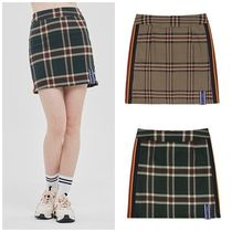 ROMANTIC CROWN Short Other Check Patterns Street Style Skirts