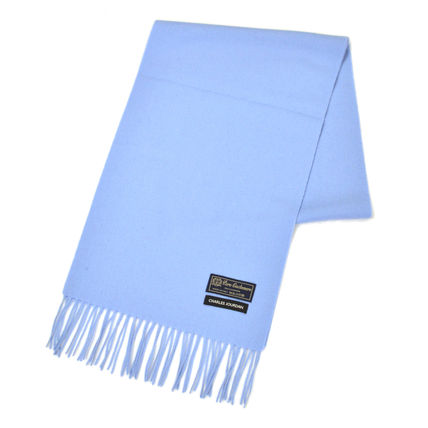 Unisex Cashmere Plain Fringes Bridal Logo Knit & Fur Scarves