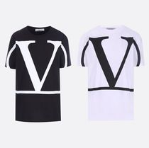 VALENTINO VLOGO Crew Neck Plain Cotton Medium Short Sleeves Oversized Logo
