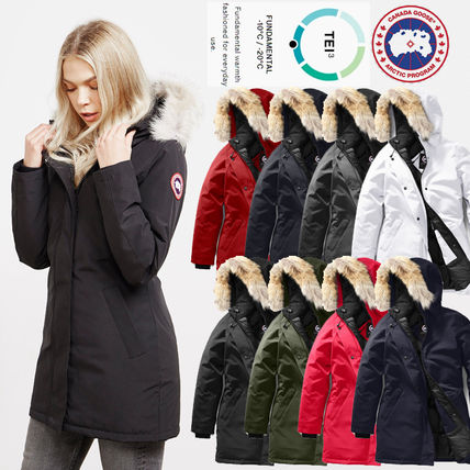 Street Style Long Logo Down Jackets