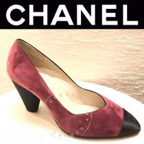 CHANEL ICON Plain Toe Casual Style Suede Blended Fabrics Street Style
