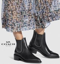 Coach Rubber Sole Casual Style Suede Plain Leather Block Heels