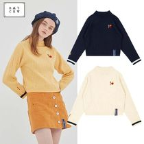 ROMANTIC CROWN Cable Knit Casual Style Street Style Long Sleeves Medium