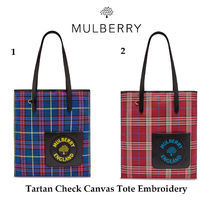 Mulberry Tartan Casual Style Canvas Shoulder Bags