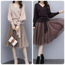 Flared U-Neck Long Sleeves Midi Elegant Style Dresses