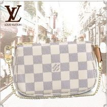 Louis Vuitton DAMIER AZUR Chain Leather Pouches & Cosmetic Bags