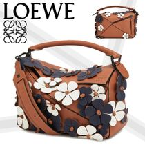LOEWE PUZZLE Flower Patterns Calfskin 3WAY Elegant Style Handbags