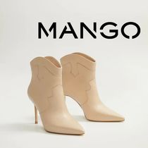 MANGO Casual Style Leather Pin Heels Elegant Style High Heel Boots