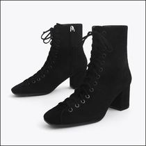 Uterque Black Suede Lace Up Ankle Boots
