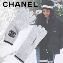 CHANEL Unisex Cashmere Silk Plain Gloves Gloves