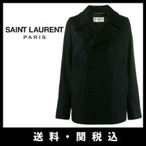 Saint Laurent Wool Plain Medium Elegant Style Peacoats