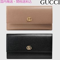 GUCCI GG Marmont Unisex Plain Leather Long Wallets