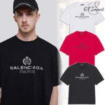 BALENCIAGA Crew Neck Pullovers Unisex Cotton Short Sleeves