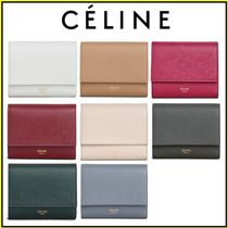 CELINE Tri Fold Calfskin Plain Small Wallet Coin Cases