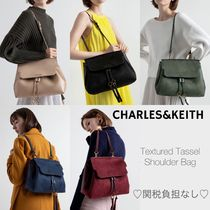 Charles&Keith Casual Style Suede Faux Fur Tassel A4 2WAY Plain Purses