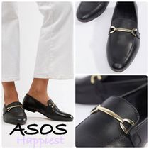 ASOS Round Toe Casual Style Plain Leather Loafer Pumps & Mules