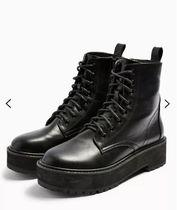 TOPSHOP Lace-up Leather Chunky Heels Lace-up Boots