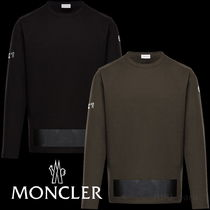 MONCLER Crew Neck Long Sleeves Plain Logos on the Sleeves