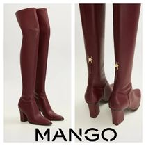 MANGO Plain Block Heels Bold Over-the-Knee Boots