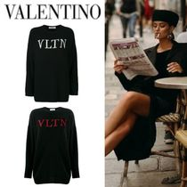 VALENTINO Crew Neck Casual Style Wool Cashmere Rib Blended Fabrics