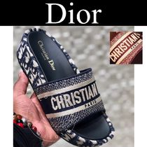 Christian Dior DWAY Monogram Open Toe Platform Casual Style Street Style