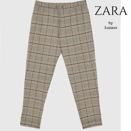 ZARA Cropped Other Check Patterns Cropped Pants