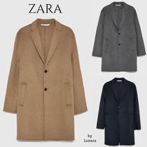 ZARA Wool Plain Long Chester Coats
