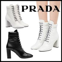 PRADA Casual Style Plain Block Heels Ankle & Booties Boots