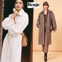 Rouje Gingham Other Check Patterns Wool Long Elegant Style