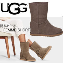 UGG Australia Wedge Round Toe Casual Style Suede Fur Blended Fabrics Plain