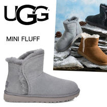 UGG Australia CLASSIC MINI Round Toe Rubber Sole Casual Style Sheepskin Fur Plain