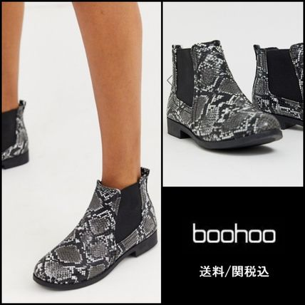 Casual Style Faux Fur Chelsea Boots Python