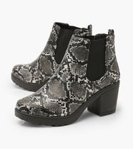 boohoo Casual Style Faux Fur Chelsea Boots Python