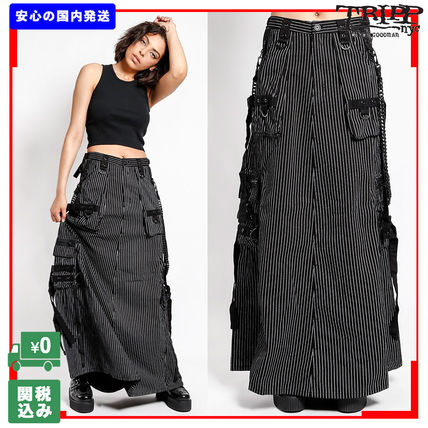 Stripes Casual Style Street Style Chain Cotton Long