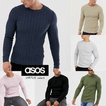 ASOS Crew Neck Cable Knit Long Sleeves Plain Cotton