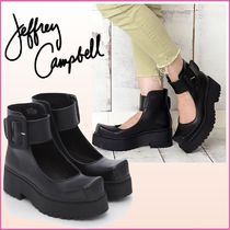 Jeffrey Campbell Square Toe Platform Casual Style Plain Leather