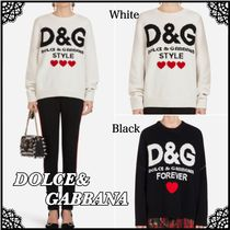 Dolce & Gabbana Crew Neck Heart Casual Style Cashmere Rib Long Sleeves