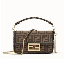 FENDI BAGUETTE Monogram Street Style 3WAY Chain Elegant Style Handbags