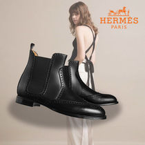 HERMES Round Toe Leather Ankle & Booties Boots