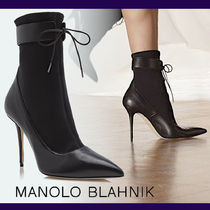 Manolo Blahnik Lace-up Casual Style Blended Fabrics Plain Leather Pin Heels