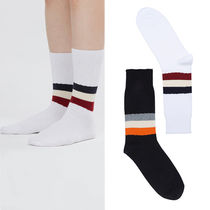 ROMANTIC CROWN Stripes Unisex Street Style Plain Cotton Socks & Tights
