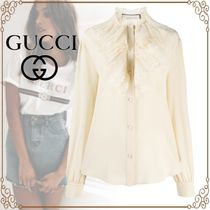 GUCCI Silk Long Sleeves Plain Cotton Party Style Elegant Style