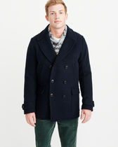 Abercrombie & Fitch Wool Plain Military Peacoats Coats