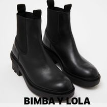 bimba & lola Rubber Sole Plain Leather Block Heels Ankle & Booties Boots